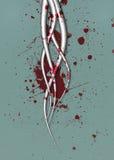 与血液泼溅物的未来派触手 免版税库存图片