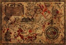 与血淋淋的下落的老海盗地图 免版税库存图片