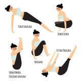 与行使各种各样的另外瑜伽的美丽的妇女的集合摆在训练 免版税库存照片