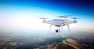 与行动照相机飞行天空的照片白色表面无光泽的普通设计空气寄生虫在地面下 无人居住的沙漠 免版税图库摄影