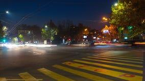 与行动迷离汽车和人的时间间隔美好的夜都市风景 与一个停车牌的都市背景在沥青 影视素材