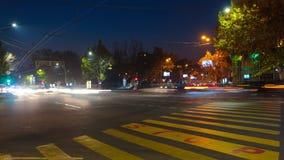 与行动迷离汽车和人的时间间隔美好的夜都市风景 与一个停车牌的都市背景在沥青 股票录像