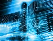 与行动迷离,艺术定调子的抽象都市风景交通背景 现代企业摩天大楼概念 图库摄影