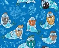 与行家海象与胡子和纹身花刺的无缝的样式在动画片样式 在蓝色颜色的传染媒介例证 免版税库存图片