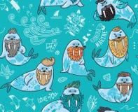 与行家海象与胡子和纹身花刺的无缝的样式在动画片样式 在蓝色颜色的传染媒介例证 图库摄影