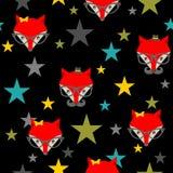 与行家狐狸的无缝的样式 免版税库存图片