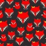与行家狐狸的无缝的样式 皇族释放例证