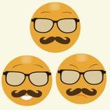 与行家的玻璃和髭的微笑 库存图片