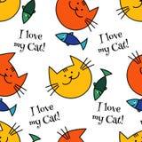 与行家逗人喜爱的猫的无缝的样式 滑稽的可爱的猫 布料设计,墙纸 免版税库存图片