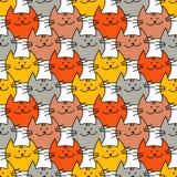 与行家逗人喜爱的猫的无缝的样式 滑稽的可爱的猫 布料设计,墙纸 库存例证