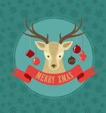 与行家鹿和丝带的圣诞节背景 免版税库存照片