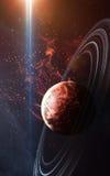 与行星、星和星系的宇宙场面在显示探险空间的秀丽外层空间 要素 库存照片