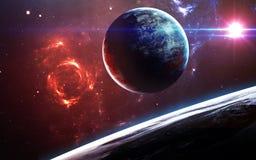 与行星、星和星系的宇宙场面在显示探险空间的秀丽外层空间 要素 库存图片