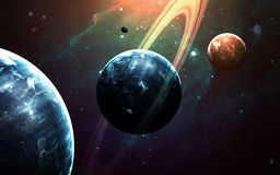 与行星、星和星系的宇宙场面在显示探险空间的秀丽外层空间 要素 免版税库存照片