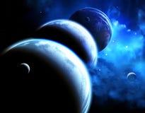 与行星和星云游行的美好的空间场面  免版税库存照片