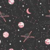 与行星和星无缝的样式,波斯菊繁星之夜天空的宇宙 向量例证