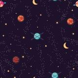 与行星和星无缝的样式,波斯菊繁星之夜天空的宇宙 免版税库存图片