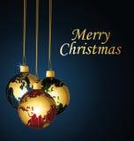 与行星圣诞节球的圣诞快乐。 免版税库存照片