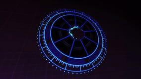 与行星地球技术的HUD接口放大在黑暗的4k被回报的录影镜头的蓝色 皇族释放例证