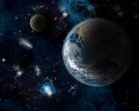 与行星地球的空间背景 库存图片