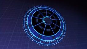 与行星地球的HUD在转动的中心盘旋4k在深蓝的被回报的录影镜头 向量例证