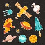 与行星火箭和宇航员的太空船象 免版税库存图片
