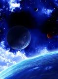 与行星的美好的空间场面 免版税库存图片