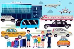 与行李的转机机票传染媒介旅行的人字符家庭在机场平面离开终端 向量例证