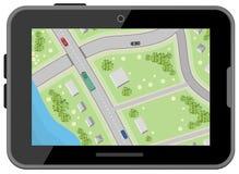 与行驶方向的地图 顶视图 黑色数字式片剂 汽车定位 库存例证