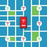 与街道地图- Wifi安全漏洞,企业网络犯罪概念的无担保的公开无线热点设计 库存例证