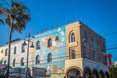 与街道画的五颜六色的大厦在威尼斯靠岸,洛杉矶,加利福尼亚 库存照片