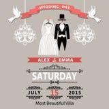 与衣物新郎和新娘的婚礼邀请 葡萄酒 库存例证