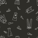 与衣裳的手拉的无缝的传染媒介样式 免版税库存图片