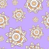 与补缀品narcissuses的浅紫色的无缝的花卉背景 免版税库存照片