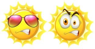 与表情的太阳 向量例证