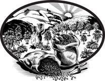与袋子的卵形框架咖啡 免版税库存照片