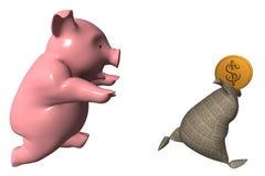 与袋子的猪 免版税库存照片