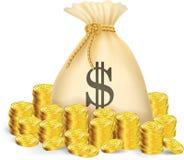 与袋子的金币金钱 库存图片