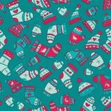 与袜子、手套和ha的冬天无缝的样式 免版税库存图片