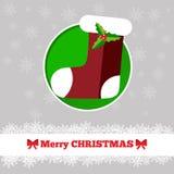 与袜子的圣诞卡模板 库存照片