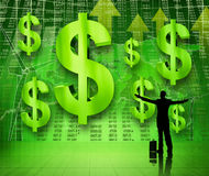 与被举的胳膊的商人看货币成长  图库摄影