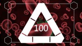 与被传染的红血球的白色三角装货 库存例证