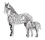 与被传统化的一点驹zentangle的母马 徒手画的铅笔 禅宗艺术 也corel凹道例证向量 免版税图库摄影