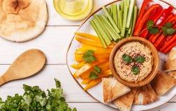 与被分类的新鲜蔬菜和皮塔饼面包的自创hummus 免版税库存图片