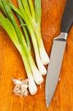 与被切除的根和刀子的四根葱 库存图片