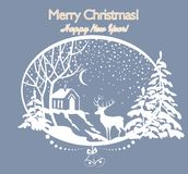 与被删去的纸冬天风景的问候圣诞节减速火箭的卡片与冷杉、树、鹿、雪和房子 库存照片