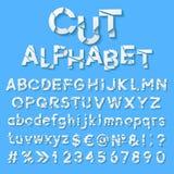 与被削减的信件的纸字母表 库存照片