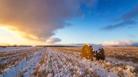 与被剪的草、一个干草堆和第一雪的农村领域在俄罗斯,乌拉尔 库存照片