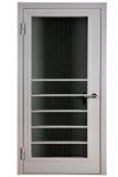 与被加强的玻璃的灰色门,隔绝在白色背景 免版税库存图片