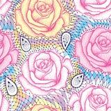 与被加点的玫瑰色花的无缝的样式在淡色的桃红色和装饰鞋带 向量例证